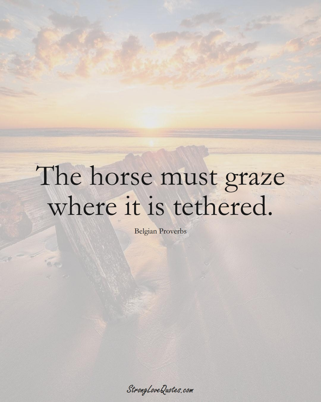 The horse must graze where it is tethered. (Belgian Sayings);  #EuropeanSayings