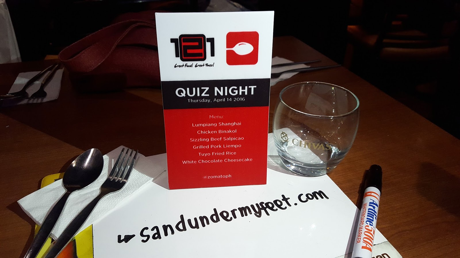 Sand under my feet 121 bar and grill x zomato first ever quiz night a handful of zomato foodies and zomato employees attended the said event and groups were formed to battle one another stopboris Image collections