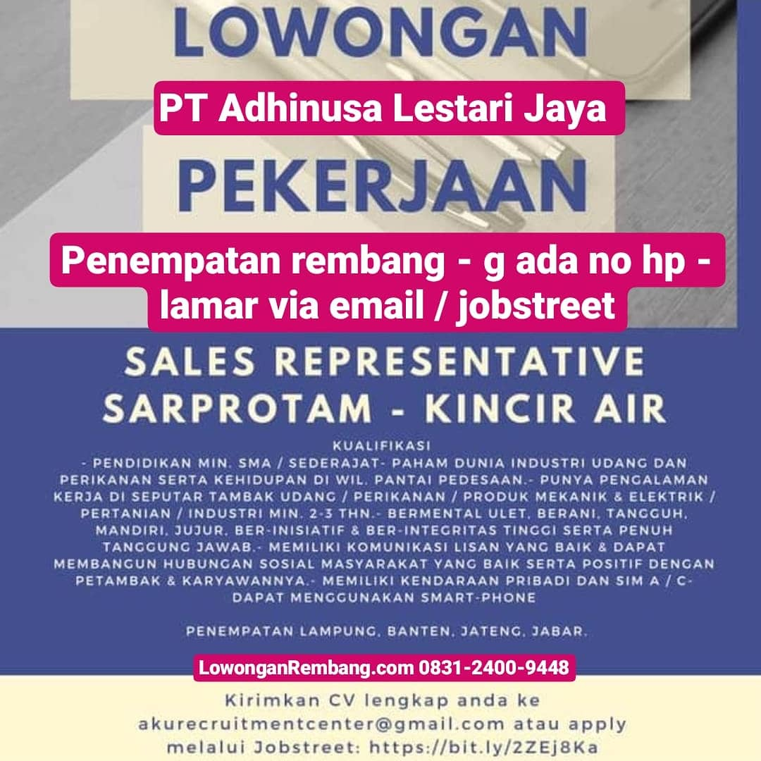PT Adhinusa Lestari Jaya Buka Lowongan Kerja Sales Representative Area Rembang