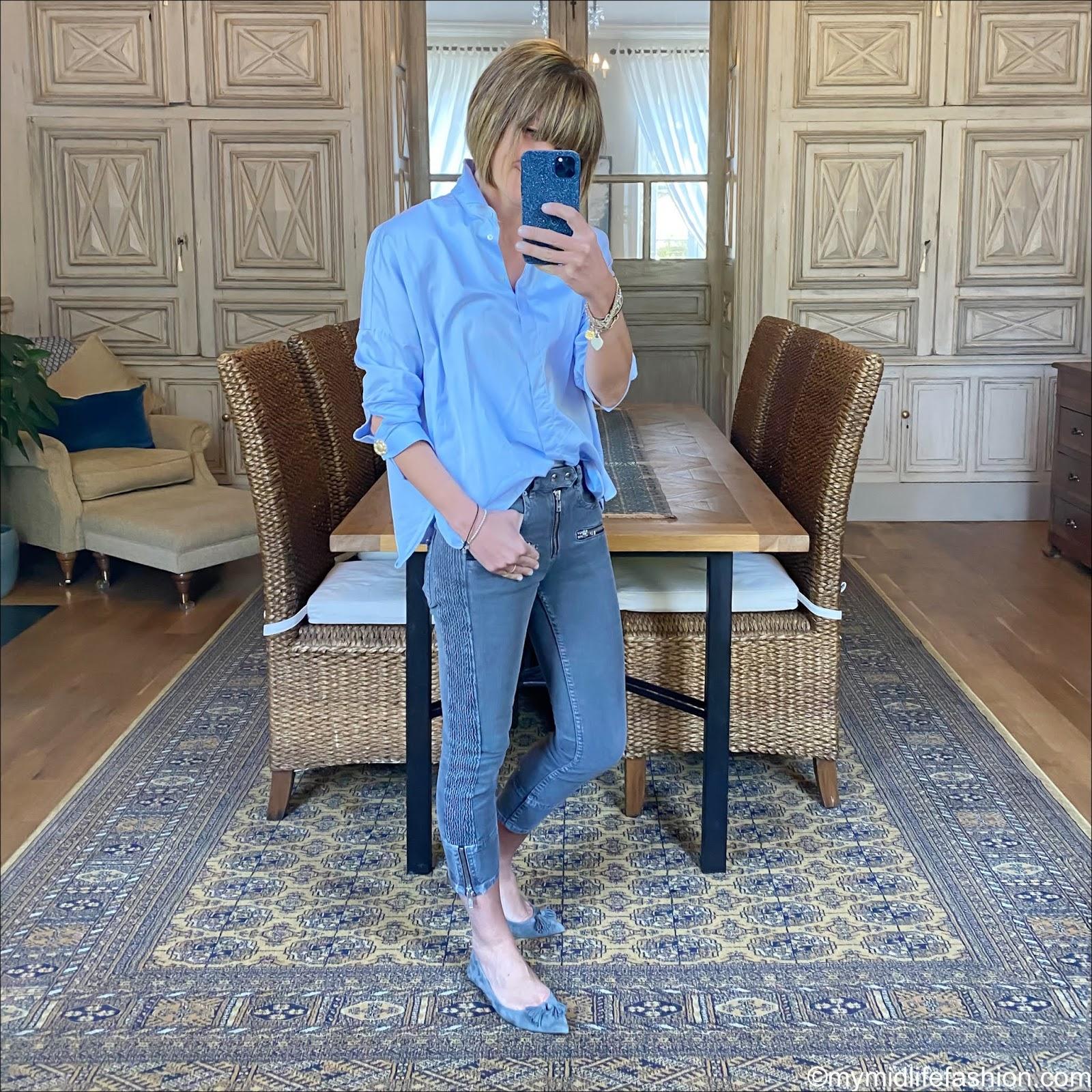 my midlife fashion, uterus oversized shirt, Isabel Marant Etoile biker jeans, j crew flat tassel pumps