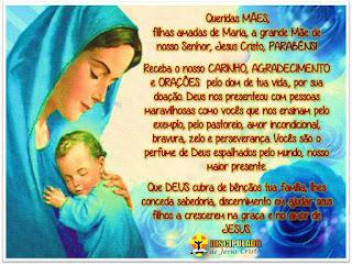 Maria com o Menino Jesus com mensagem de Feliz Dia das Mães