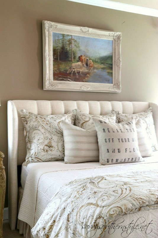 Simple I already had the euro shams that I picked up at the Pottery Barn outlet a couple years ago and then bought the duvet cover a couple months ago at the