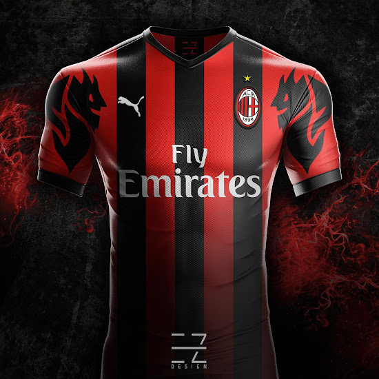 5e79348c88e5 Puma AC Milan 18-19 Home, Away & Third Concept Kits by EZ Design ...