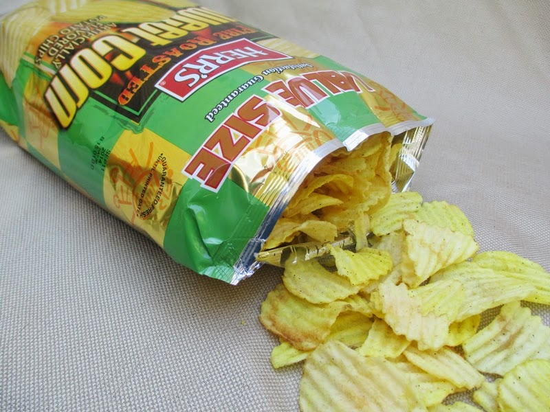 Fire Roasted Sweet Corn Chips Spilling from Bag