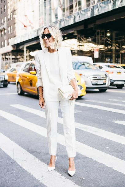 white on white pants blazer blouse monochrome outfit street style