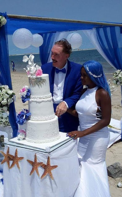 Photos from the wedding of a younger Nigerian woman to her