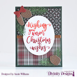 Stamp Set: Christmas Wishes, Paper Collection: Rustic Christmas, Custom Dies: Pierced Ovals, Pine Branches, Pinecones