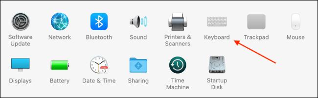 انقر فوق لوحة المفاتيح في تفضيلات النظام على macOS Big Sur