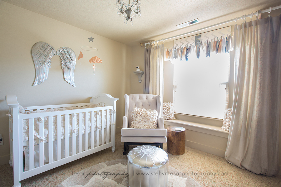 The Grey And Peach Palette While Gorgeous Layers Of Patterns Textures Create Softness Serenity In This Angelic Nursery Fit For A Little Angel