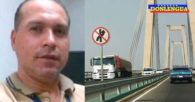 Se lanzó desde el puente sobre el Lago de Maracaibo y dejó su camioneta cerrada en la vía