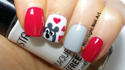 Teddy Bear Nail Art for Valentine's Day