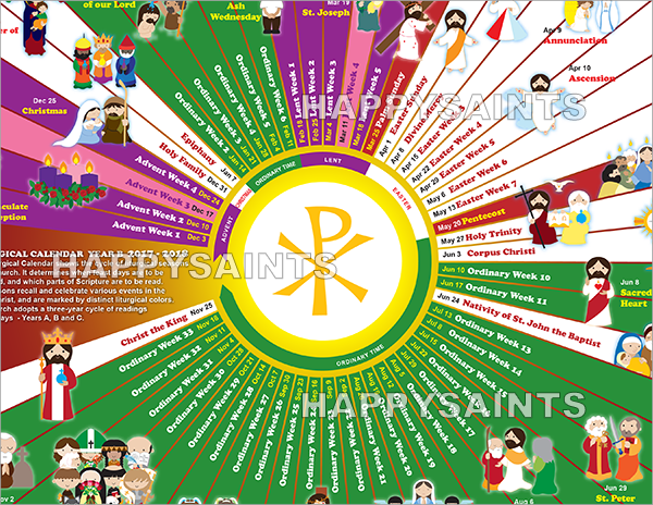 the happy saints liturgical calendar 2018 was previously only available in 18in x 12in prints or pdf i have requests to make the calendar available in