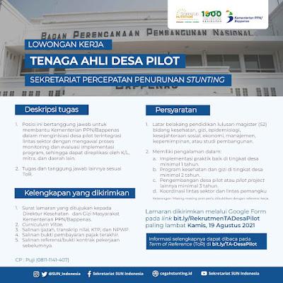 Lowongan Kerja, Tenaga Ahli Desa Pilot
