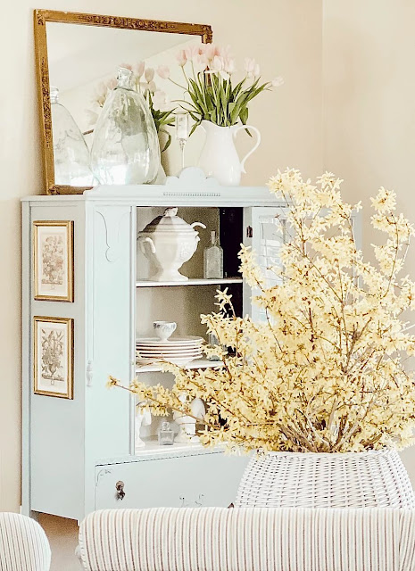 Antique Hutch Makeover with Robin's Egg Blue Paint