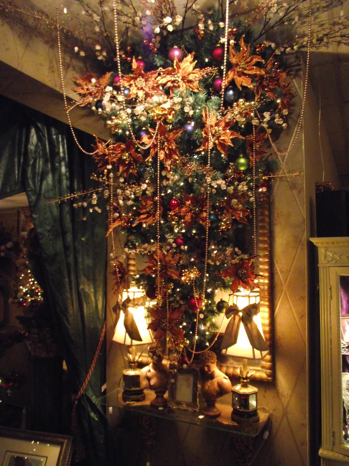Upside Down Christmas Tree In Cherry Blossoms And Copper