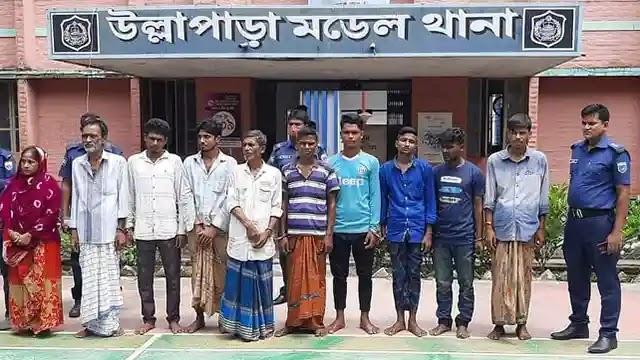 উল্লাপাড়ায় হেরোইন ও ইয়াবাসহ দশ মাদক কারবারি আটক