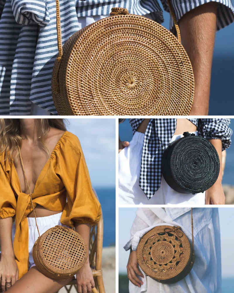 posse round bag caña bambu rafia ratan summer verano cesto