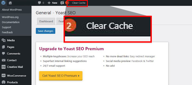 how to clear cache on wordpress deshboard