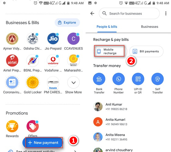 Google pay recharge