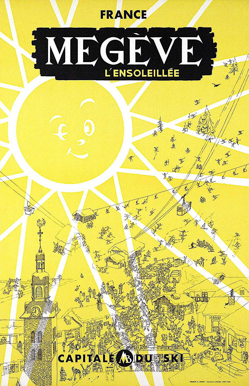 a Y. Laty 1955 illustration for France Megeve L'ensoleillee, with a giant smiling winking sun