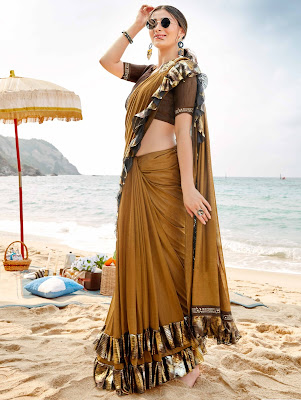 Indian party Wear Mustard Lycra Pre Stitched Fancy Ruffle Saree