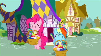 Pinkie and Rainbow prepare for their pranking session