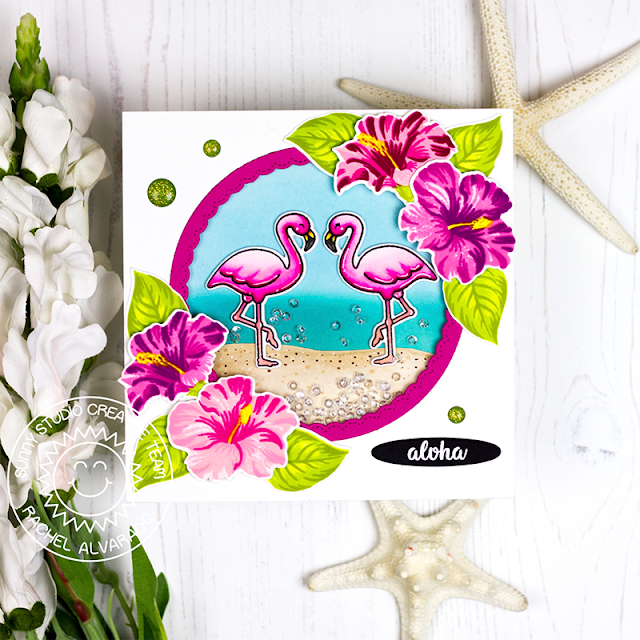 Sunny Studio Stamps: Hawaiian Hibiscus Fancy Frames Tropical Paradise Summer Themed Card by Rachel Alvarado