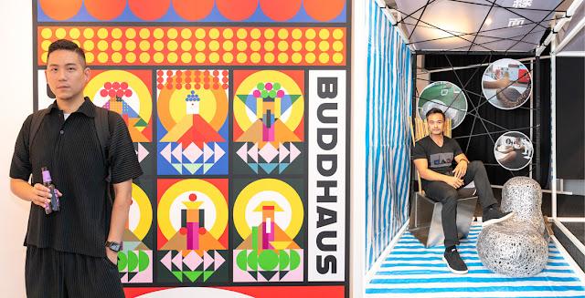 圖:三頁文設計負責人顏伯駿與作品BUDDHAUS合影  圖:來自泰國的DAD設計團隊與作品合影  (圖片來源:台灣創意設計中心)