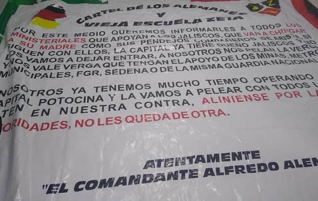 """Nace un nuevo Cártel en Méxcio y junto con """" La Vieja Escuela"""" tapiza de Narcomantas y amenaza solo al CJNG"""