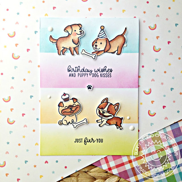 Sunny Studio Stamps: Devoted Doggies Birthday Wishes Card by Franci Vignoli