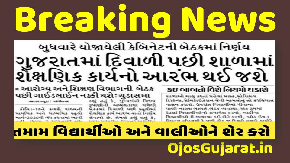 News Schools Start In Gujarat After Diwali
