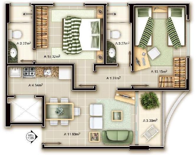 Appartamento 90 Mq Pianta