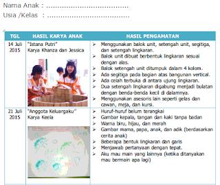 Buku Catatan Hasil Karya Anak PAUD - Penilaian Kurikulum 2013