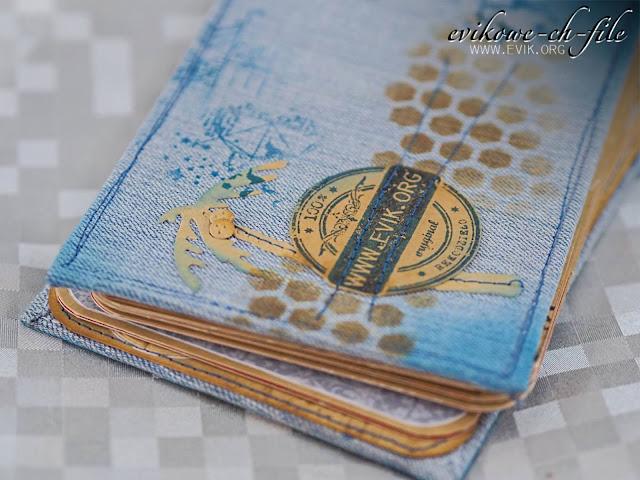 Mini album, album na prezent, pomysł na prezent, 8.urodziny, Ewa Jarlińska, Evik, album jeansowy