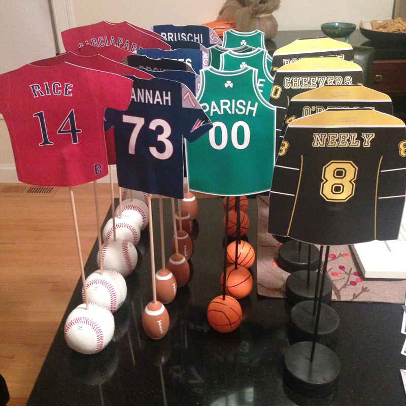boston sports themed table numbers for wedding, wedding table numbers for groom,