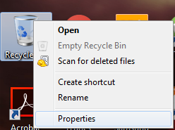 Properties of recycle bin