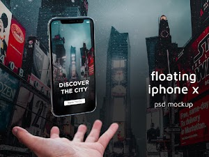 Floating iPhone X PSD Mockup
