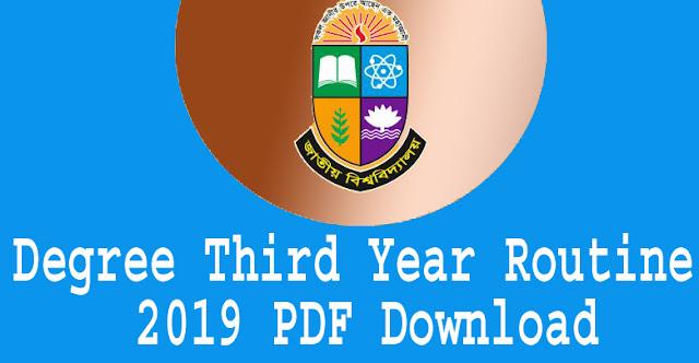 Degree Third Year Routine 2019? PDF Download. National University