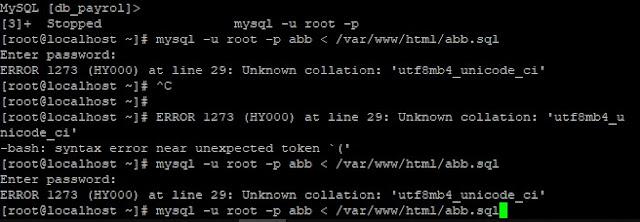 penyebab dan cara mengatasi Unknown collation 'utf8mb4_unicode_ci' pada saat import database ke server di centos, debian, linux