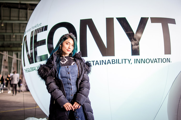 Lina Mayorga( Sustainable fashion designer) at Neonyt Berlin