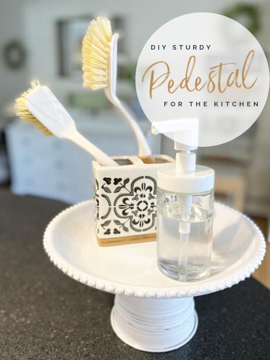 white kitchen pedestal dish with overlay