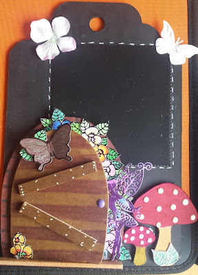Fairy door and toadstools wall hanging with blackboard section
