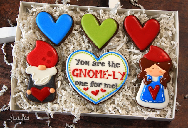 Gnome sugar cookies with a candle cutter for Valentine's Day