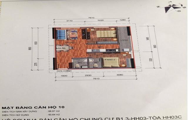 Sơ đồ thiết kế căn hộ 10 chung cư B1.3 HH03C Thanh Hà Cienco 5