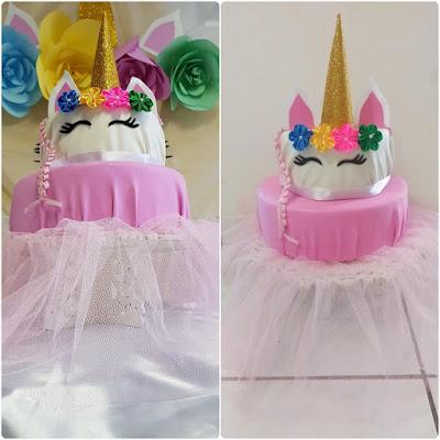 bolo falso unicornio, Minhas 24 Horas, aniversário menina, aniversário unicórnio, aniversário bailarina, bailarina unicórnio, Aniversário Econômico, DIY
