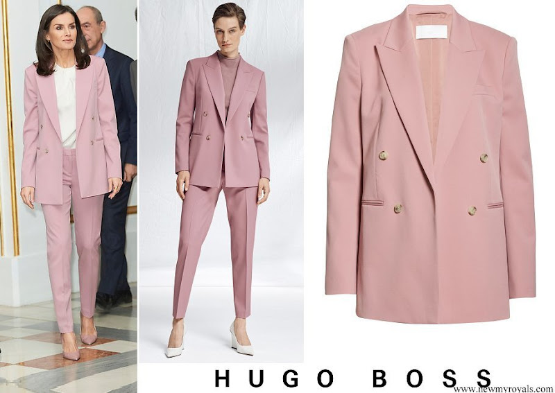 Queen Letizia wore Hugo Boss Jericoa Stretch Wool Twill Open Jacket and Trousers
