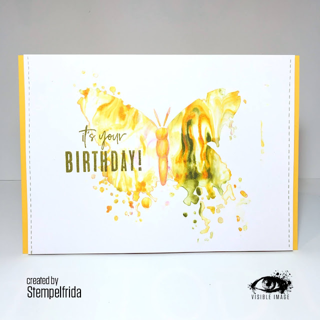 butterfly stencil | birthday stamp | handmade greeting card