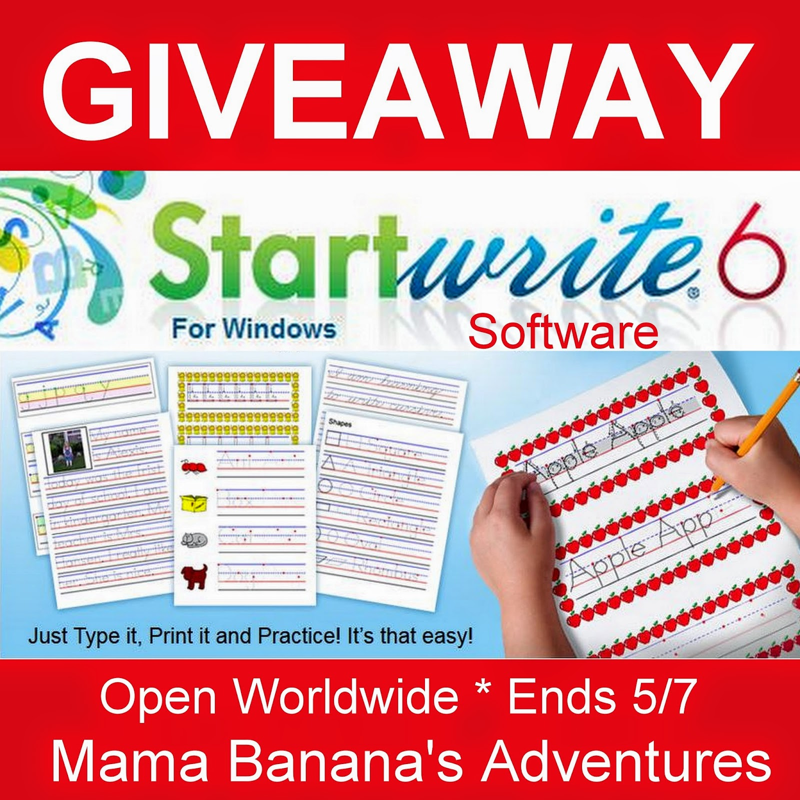 Enter the Startwrite Giveaway. Open WW. Ends 5/7