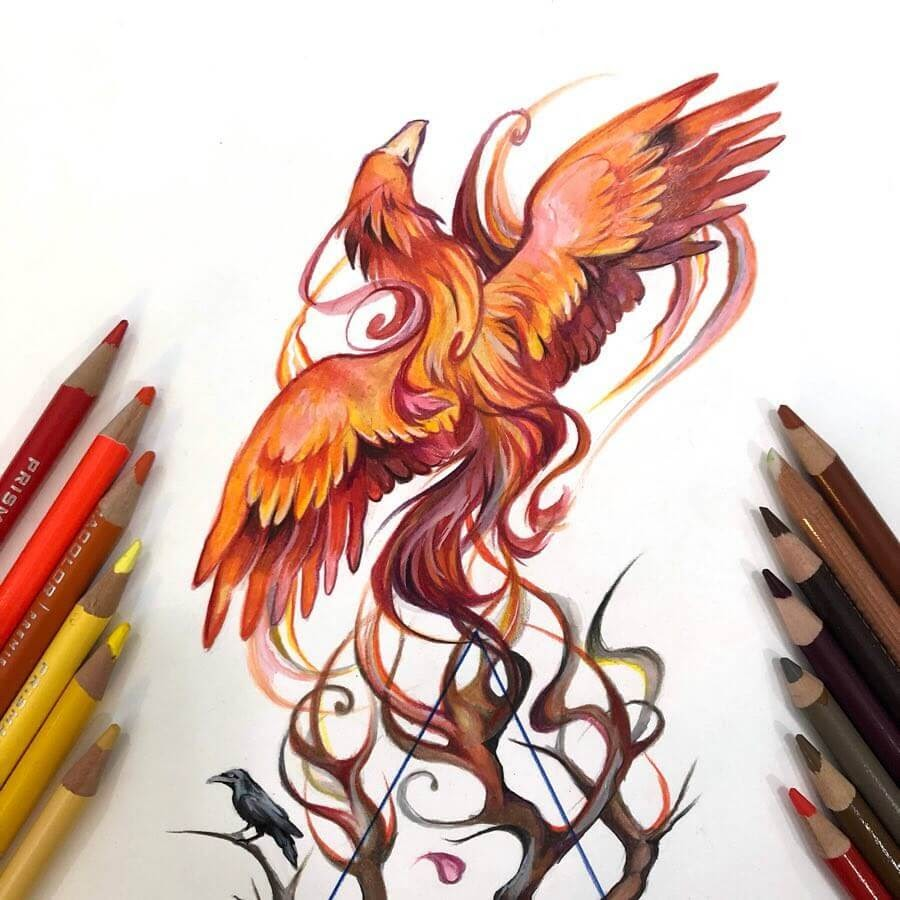 08-Phoenix-Animal-Drawings-Fantasy-Wolds-www-designstack-co