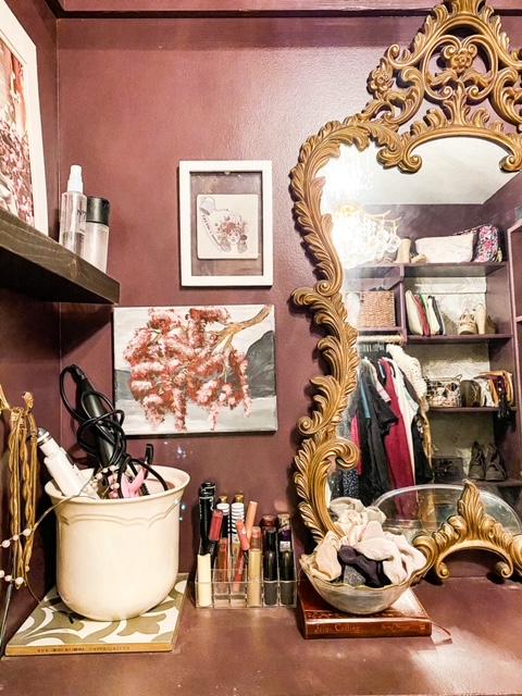 vanity in walk in closet